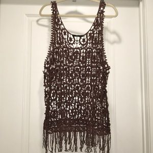 HAZEL size M crochet knit boho chic brown top
